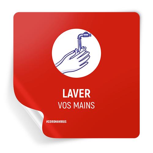 Mains Visage Espace distance sociale Autocollant Signe COV ID
