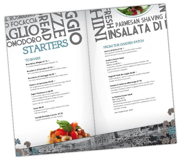 menukaart ontwerpen voor italiaans restaurant
