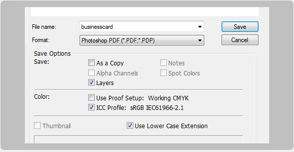 Cliquez Sur Fichier Enregistrer Donnez Un Nom Votre Pex Businesscard Choississez Photoshop PDF Et